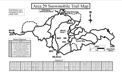 Elk River, Idaho Area 29 Snowmobile Trails Map