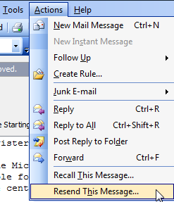 Resend an email message