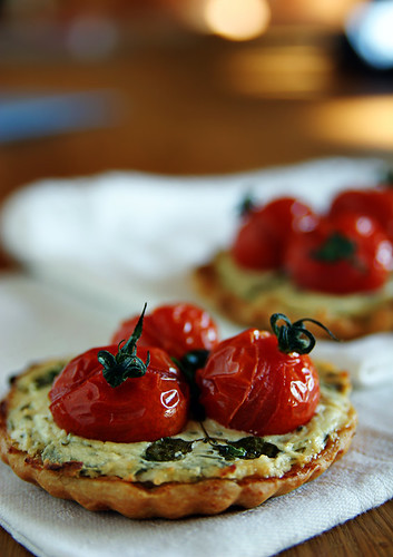 Goat Cheese, Cherry Tomato & Herb Tarts