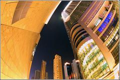 LanghamPlace (blaarg-) Tags: longexposure architecture night hongkong fisheye d100 nikkor kowloon mongkok langham 105mmf28gfisheye langhamplacehotel