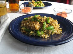 Fried Rice with asparagus and sugar snap peas