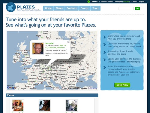 demo of the new version of plazes
