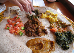 Our Ethiopian Dish (LollyKnit) Tags: food dinner restaurant dc ethiopian injera roha