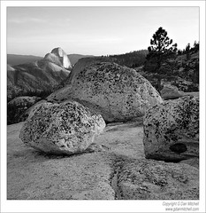 Half Dome and Boulders,  Olmsted Point (BW) (G Dan Mitchell) Tags: california usa nationalpark yosemite halfdome erratics glacial travelphotography olmstedpoint landscapephotography blackandwhitephotograph induro gdanmitchell
