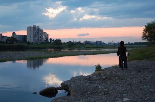 多摩川から見る日の入り