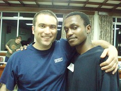Ros with WHYS listener Jared in Kampala, Uganda