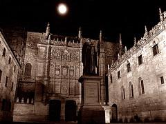 Salamanca moon (redcipolla) Tags: travel moon statue sepia night spain university salamanca treatment