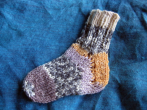 baby sock with blue