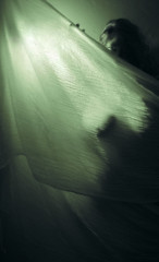 Haunted by her (AzRedHeadedBrat) Tags: light woman mist selfportrait green silhouette twilight darkness spirit ghost mint haunted demon lover mistress apparition seethru sheer artisticnude typeonegative moonbeams gauzy bathedinlight sharleneshappart goddesss surroundedbyshadows