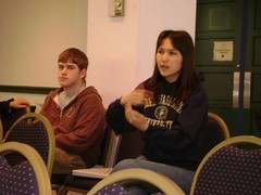 Ainur Aitbayeva asks a question. 2007 University Writing and Research Symposium.
