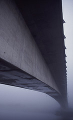 Gray Day (inua) Tags: bridge mist abstract film rain fog alaska architecture canon dark concrete outside fuji state northwest outdoor north gray foggy slide minimal juneau rainy southeast douglas provia obscure 1v blevins 1vhs inua