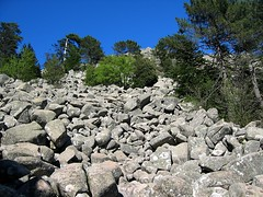 Entre Barba Porca et plaine d'Uovacce: la coulée de blocs à traverser