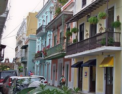 Puerto Rico (San Juan) Spanish colonial style brightly painted buildings of Old Town (ustung) Tags: puertorico city view street colorful building brightly painted outdoor sanjuan architecture people