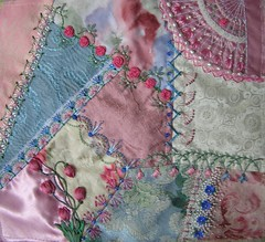 Encrusted Block (Lin Moon) Tags: embroidery cq crazyquilt encrusted crazyquilting sre silkribbonembroidery silkribbon