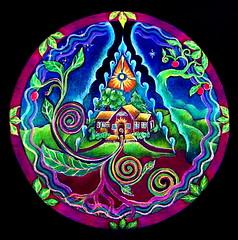 House Sanctuary (blue_sea_art) Tags: house art pencil circle roots center mandala sacred mystical growing prismacolor sprouting meditational sanctuarypaper