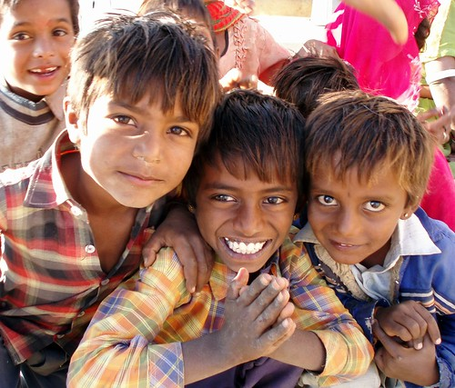 Children in a village near Jaisalmer, on the way to the desert...