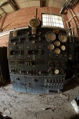 Location Scouting :: Abandoned Machine (Sam Rohn - 360 Photography) Tags: old nyc newyorkcity newyork abandoned analog switch interesting industrial factory decay machine dial fisheye urbanexploration analogue guage locationscouting locationscout 105mmf28gfisheye filmlocations nikond200 filmscouting nylocations samrohn filmscout