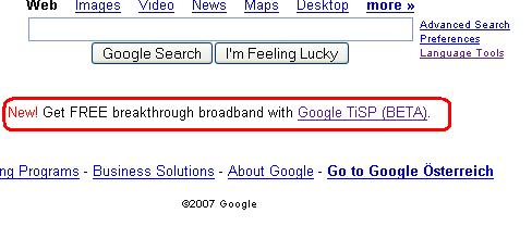 Google TiSP-Werbung auf der Startseite
