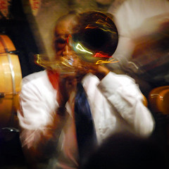 All That Jazz (Wade Griffith) Tags: longexposure musician music motion blur color louisiana action neworleans band jazz horn preservationhall wadegriffith nikond80 utata:project=upportrait utata:displaysize=medium wadegriffith2010