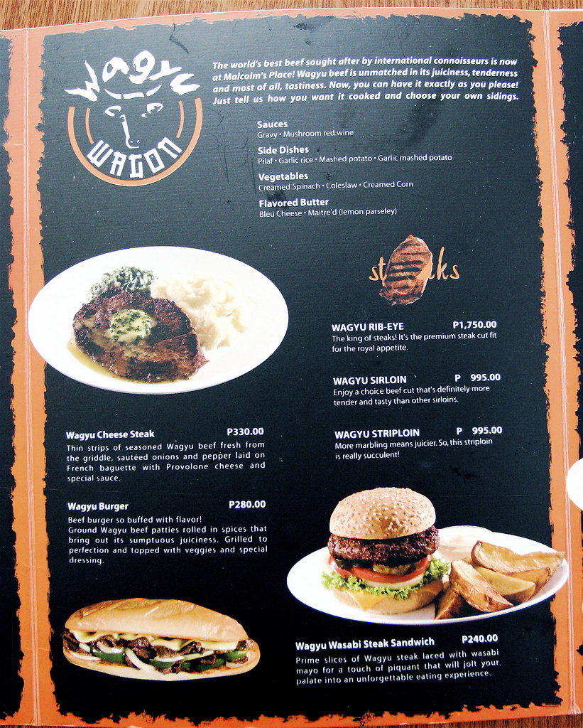 Menu: Malcolm's Place And Wagyu Rib Eye Steak! • Our Awesome Planet