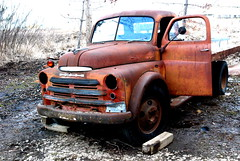 Rusted Dodge Truck (The Adventures of Kristin & Adam) Tags: orange minnesota truck rusty junkyard lakeville dodgetruck rustedout sfasciacarrozze blackribbonofbeauty dodge rustedvehicle corrosodallaruggine macchinearrugginite macchinevecchie