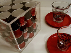 Red White Black (Stewart Leiwakabessy) Tags: red white black cup glass glasses licht words box text spoon stewart saucer spoons saucers capsules leiwakabessy stewartleiwakabessy essenza