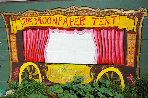 The Moonpaper Tent, sideshow wagon wall mural, Roosevelt, Seattle, Washington, USA by Wonderlane