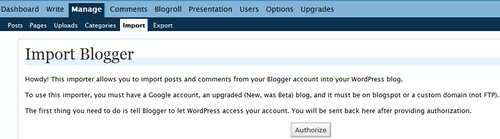 import from new blogger to wordpress