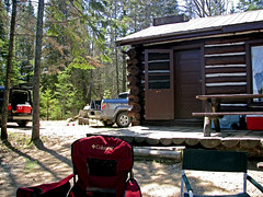 Rain Lake Cabin (Day 1) (Rock Steady Images) Tags: trip ontario canada honda log cabin hiking may canoe 200views algonquin 500views ridgeline 50views element algonquinpark provincialpark 2007 canoetrip 25views rainlake bypaulchambers rangerscabin rocksteadyimages