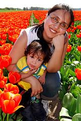 Perla and Daniela in the Tulips Field