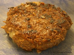 Stuffed Mushroom and Cheddar Burger: Cooked