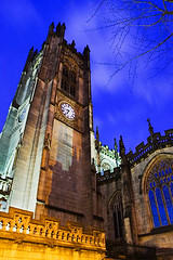 Manchester Cathedral at Night - 2 (Darby Sawchuk) Tags: uk greatbritain travel england building tower english heritage history clock tourism church architecture night manchester religious evening twilight europe european bell god unitedkingdom britain dusk faith religion gothic culture belief architectural historic nighttime knowledge perpendicular citycentre cultural manchestercathedral oldparishchurch