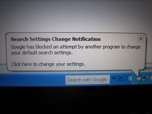 Search Settings Change Notification