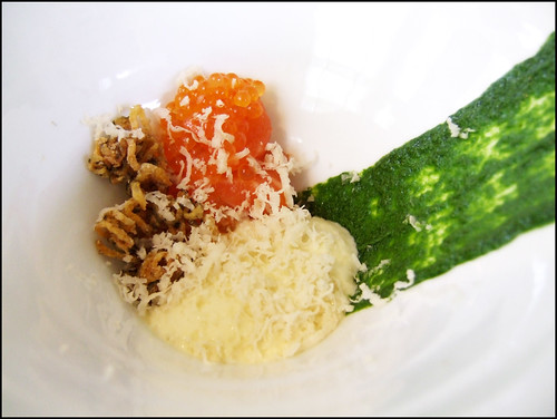 Jean Georges (New York) - Sea Trout Sashimi Draped in Trout Eggs, Lemon, Dill, & Horseradish