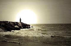 Coney Island, New York, New York (Seven Seconds Before Sunrise) Tags: nyc newyorkcity people bw newyork beach water silhouette brooklyn coneyisland rocks waves unitedstates shore brightonbeach