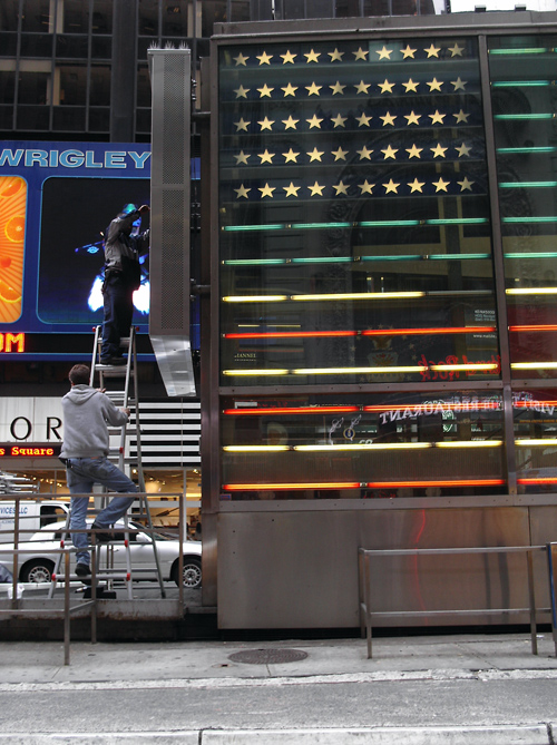 Times Square, men at work