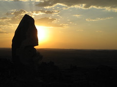 096 the Living Desert sunset (Parkaboy) Tags: sunset summer sculpture sun art rock stone clouds eclipse bush horizon australia newsouthwales outback remote redsky aboriginal shape sunrays distance brokenhill livingdesert barrierranges sculpturesymposium bajoelsoljaguar sundownhill underthejaguarsun