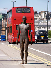 He missed the bus (A Okapi) Tags: bridge man bus london art statue naked penis taxi southbank waterloo bankside eventhorizon anthonygormley geh bobnox justgiving