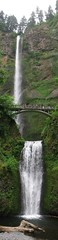 Multnomah Falls Panoramic (Ryan Hadley) Tags: bridge autostitch panorama usa nature oregon landscape waterfall hiking panoramic rockface gorge multnomahfalls columbiarivergorge mounthoodnationalforest bensonbridge columbiarivergorgenationalscenicarea awesomenature uppermultnomahfalls lowermultnomahfalls