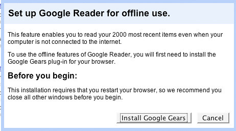 google reader offline pop-up