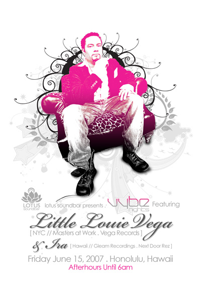 Flier for Louie Vega @ Lotus