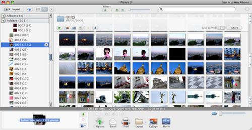 Captura de pantalla de Picasa 3 para Mac mostrando docenas de fotos en modo rejilla