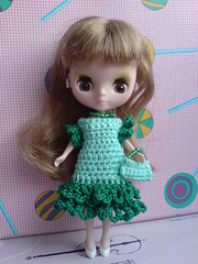 Petite Blythe Crochet Dress Green Waves (to USA)