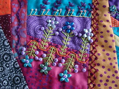 Detail of Beading on Crazy Quilt (Debra Hurter) Tags: sewing stitching crazyquilt beading handembroidery