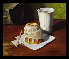 Cinnamon Roll (dpstevenson2) Tags: wood stilllife food color art coffee painting table cafe artist desert cinnamon pastry sweets icing roll drips treat oils realism yourmasterpaintings