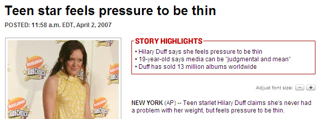 teen star feels pressure to be thin