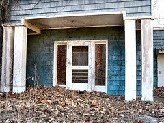 Dead Leaves (BehindBlueEyes) Tags: door house abandoned home leaves newjersey nj somersetcounty montgomerytownship