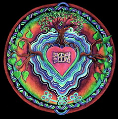 Window to the Heart- mandala (blue_sea_art) Tags: tree art window pencil circle colorful heart vibrant magic roots mandala illuminated sacred mystical spiritual prismacolor sprouting meditative