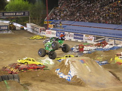 Gravedigger, 2 seconds before going belly up (jensjonason) Tags: world monster jump lasvegas nevada nv finals gravedigger godblessamerica jam monstertruck 2007 monsterjam worldfinals samboydstadium