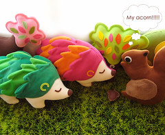 hi squirrel, hi hedgehog (my little odd forest) Tags: pink cute green grass animals forest toy design stuffed squirrel soft handmade plush softie acorn critters hedgehog creatures forestprints littleoddforest huggable saic